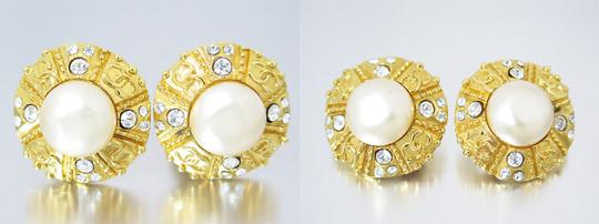 Chanel Auth CHANEL Vintage 93P CC Logo Clip-On Earrings Faux Pearls/Rhinestones Image 2