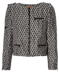 Alice + Olivia Tweed Cropped Monochrome Edgy Black, White Jacket