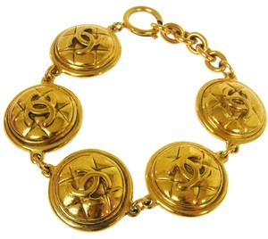Chanel AUTHENTIC CHANEL VINTAGE CC LOGOS MEDALLION GOLD CHAIN BRACELET FRANCE