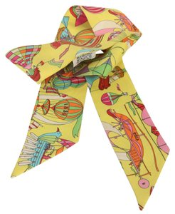 Hermès Hermes Rare Silk Vivid Yellow Circus Twilly Scarf Wrap Made in France