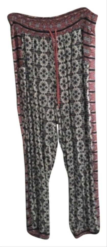 coral navy and white paisley genie pants blouse size os one size