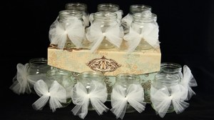 16 Mini Mason Jar Tea-light Set - Wedding Bridal Shower Country Burlap Rustic Home Decor
