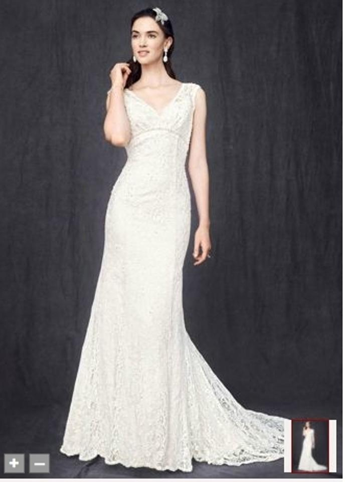 213b62b6a0 David s Bridal Ivory Lace All Over Beaded Trumpet Gown Style T9612 Vintage Wedding  Dress