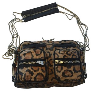 Alexander Wang Animal Print Zippers Pockets Leopard Chain Shoulder Bag