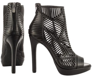 BCBGeneration Bootie Caged Cut-out Designer BLACK Leather Boots
