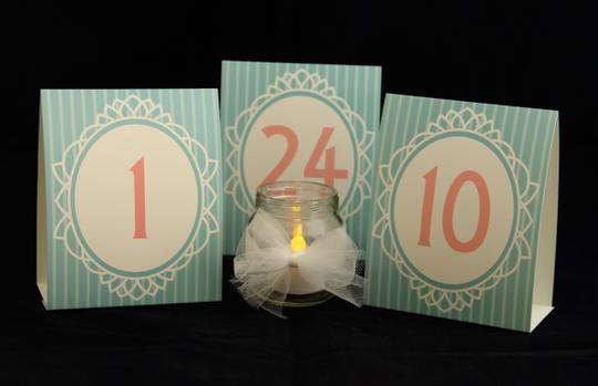 Blue/Pink Retro Table Numbers 1 Through 24 Banquets Events Reception Decoration
