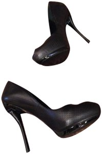 Georgina Goodman Heart Stilletto Leather Hidden Platform BLACK Pumps
