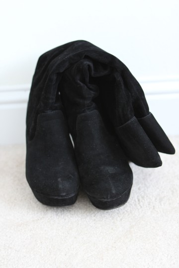 Forever 21 Wedge Knee High Faux Suede Faux Leather Black Boots