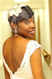 David's Bridal Ivory/Gold Birdcage Russian Tulle Blusher with Scattered Crystals Bridal Veil