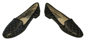 MICHAEL Michael Kors Mk Geometric Lining Black leather logo and pewter grommets Flats