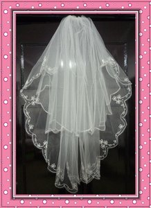 2 Layer Elbow Beaded Edge Bridal Wedding Veil--white Only