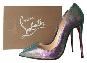 Christian Louboutin So Kate 120 Tissu Scarab Scarabe Digitale Silver Green Iridescent Multi Multicolor 120mm Pigalle Follies 37 Purple Pumps