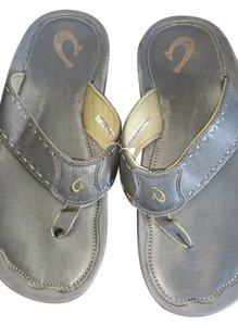 Olukai Hawaii Flip Flop Leather Leather black & green Sandals
