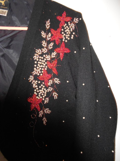 I Did It Lambswool Angora Black Bead Embroidered Sweater Jacket