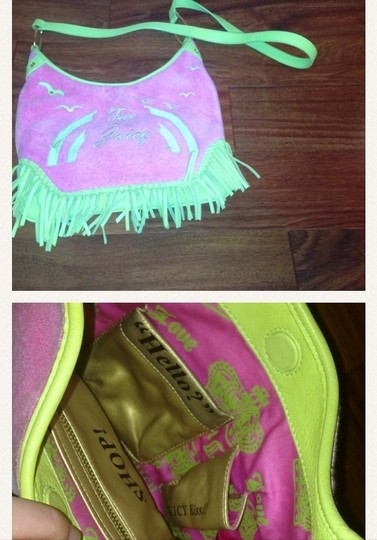Juicy Couture Satchel in pink and line green