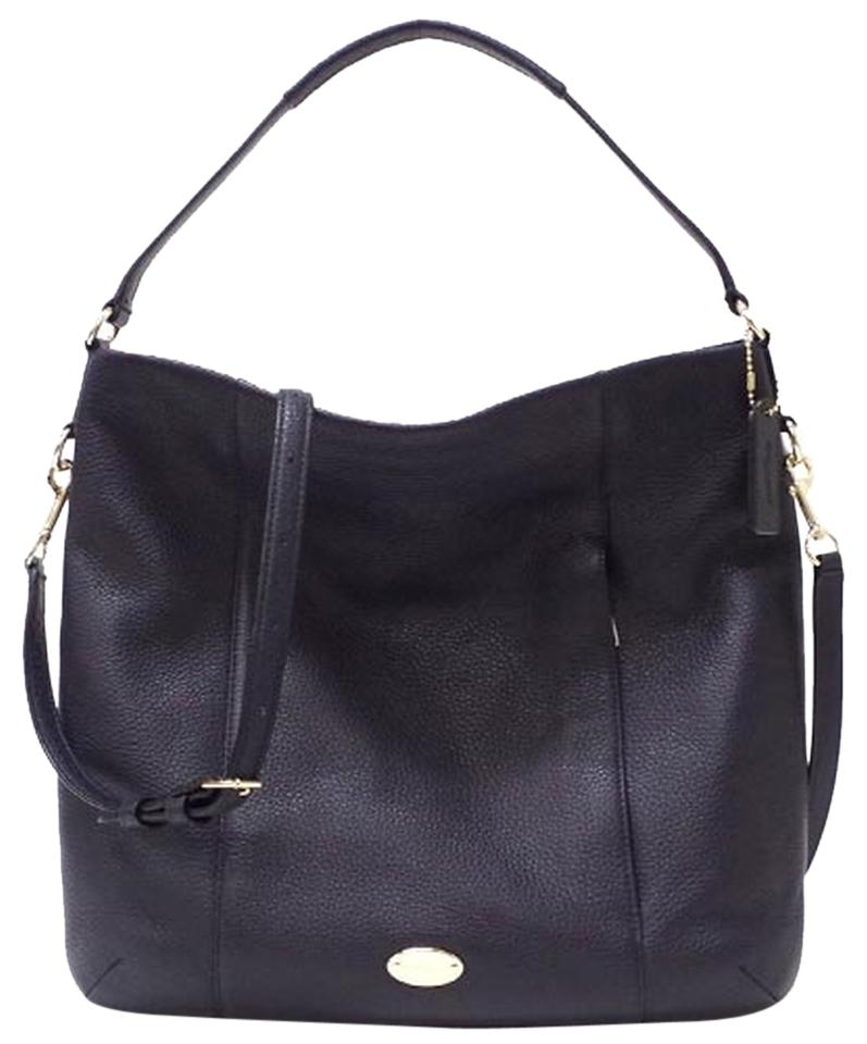 cae288978546 Coach Isabelle Convertible Satchel Strap 34511 35809 Midnight Blue Navy  Leather Hobo Bag - Tradesy Michael Kors Isabel Lg Convertible Beige Leather  Shoulder ...
