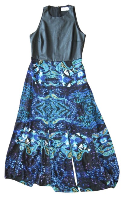 Item - Black Paisley Ankle Length Faux Leather Long Night Out Dress Size 8 (M)