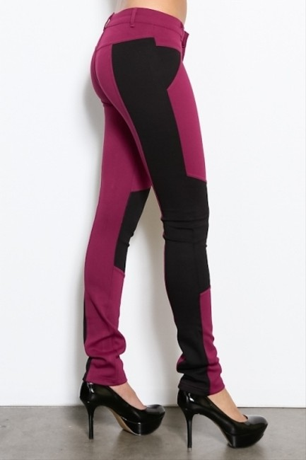 Other Colorblock Contrast Magenta Skinny Pants
