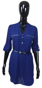 short dress Blue Belt Zipper on Tradesy