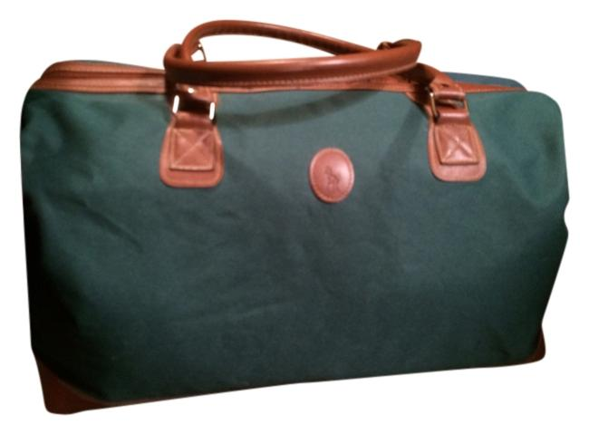 Item - Tote Duffle Green Brown Canvas Weekend/Travel Bag