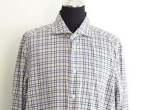 Kiton Men Blue Checker Shirt