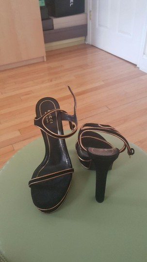 Gucci Black and Gold Platforms Image 2