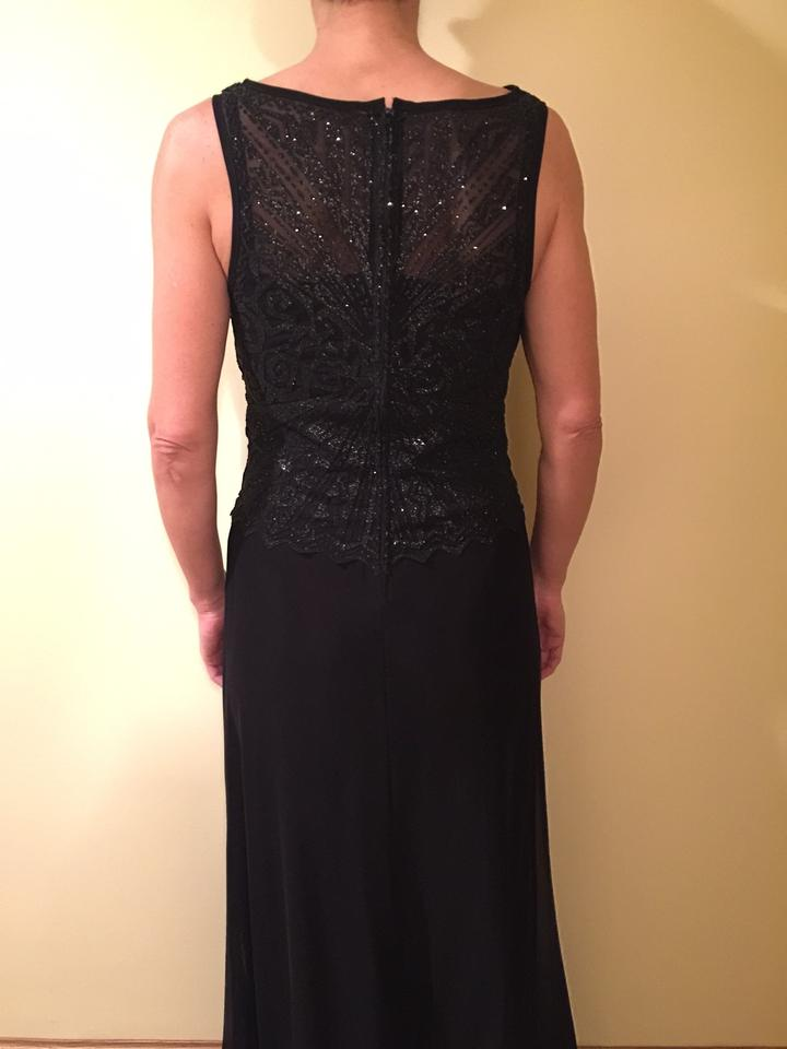 Tadashi Shoji Black Beaded Top Tulle Evening Gown Long Formal Dress ...