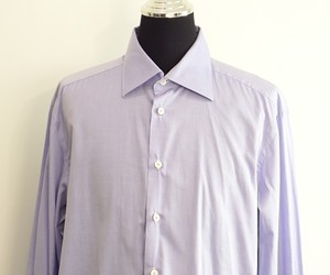 Kiton Men Purple Cotton Dress Shirt