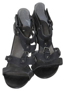 Mossimo Supply Co. Denim Velcro Buckle Heel Leather Faux Leather Black, Very Dark Navy Sandals