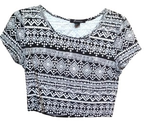 Forever 21 Crop Tribal Print Top Black and White