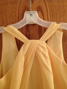 David's Bridal Canary Yellow Chiffon F15600 Feminine Bridesmaid/Mob Dress Size 8 (M)