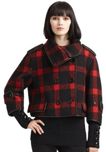 Burberry Plaid Check Leather Wool Pea Coat