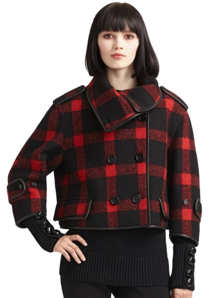 Burberry New!! Prorsum Buffalo Plaid Leather Wool Jacket Pea Coat ...