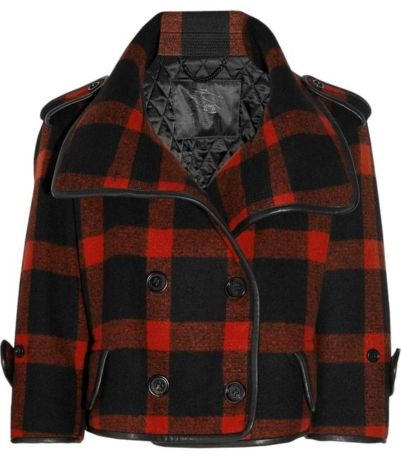 Burberry Plaid Check Leather Wool Winter Pea Coat Image 1