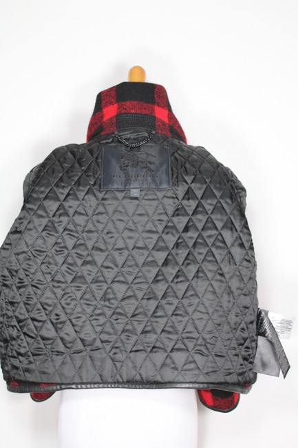 Burberry Plaid Check Leather Wool Winter Pea Coat Image 10