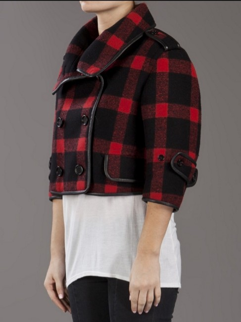 Burberry Plaid Check Leather Wool Winter Pea Coat Image 3