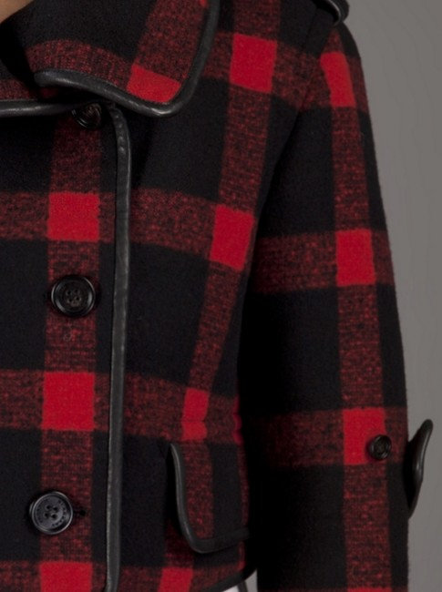 Burberry Plaid Check Leather Wool Winter Pea Coat Image 4