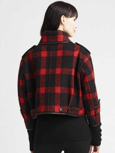 Burberry Plaid Check Leather Wool Winter Pea Coat Image 5