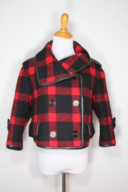 Burberry Plaid Check Leather Wool Winter Pea Coat Image 6