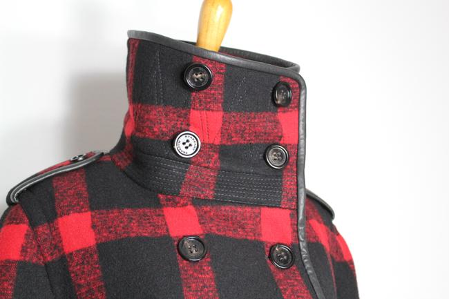 Burberry Plaid Check Leather Wool Winter Pea Coat Image 7