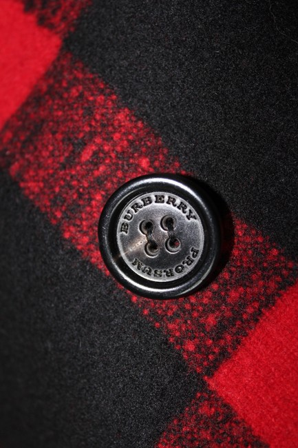 Burberry Plaid Check Leather Wool Winter Pea Coat Image 8