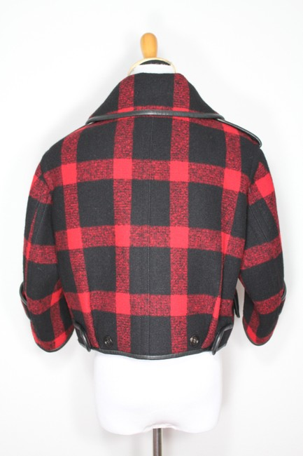 Burberry Plaid Check Leather Wool Winter Pea Coat Image 9