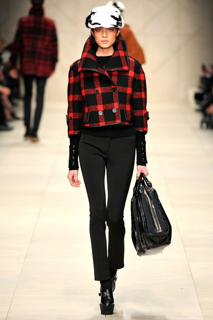 Burberry Plaid Check Leather Wool Winter Pea Coat
