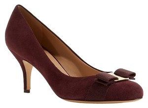 Salvatore Ferragamo Carla Suede Leather Bow Pump Rouge Noir Pumps