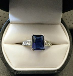 Elegant Blue White Topaz Engagement Ring