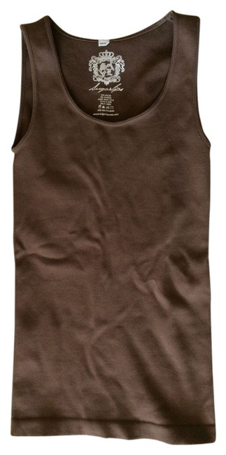 Sugarlips Seamless Scoop Neck Ribbed Sleevless Bodycon Top chocolate brown