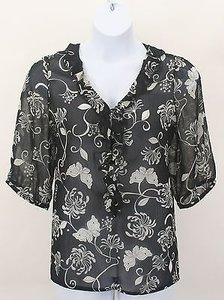 Old Navy Floral Ss Ruffle Neck Front B203 Top Black Cream