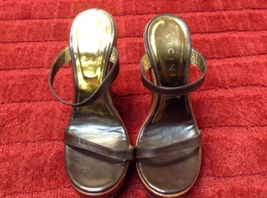 Vicini Leather Designer Sandal Brown w/ brass Wedges