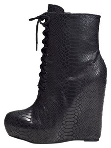 Matiko Snakeskin Leather Wedge Black Boots