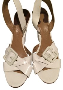 Chloé Chloe White Patent Patentleather Leather Buckle Wedges